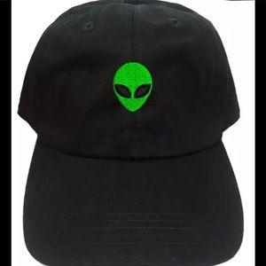 Accessories - Alien Dad Baseball Cap Green Alien Face Blk Hat